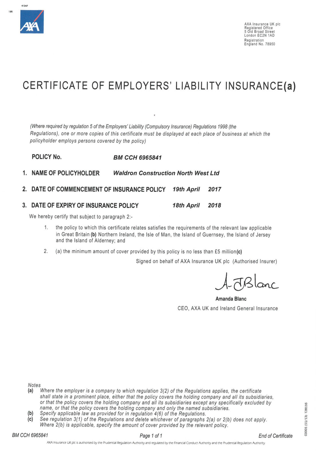 Certificate of Employers Liability