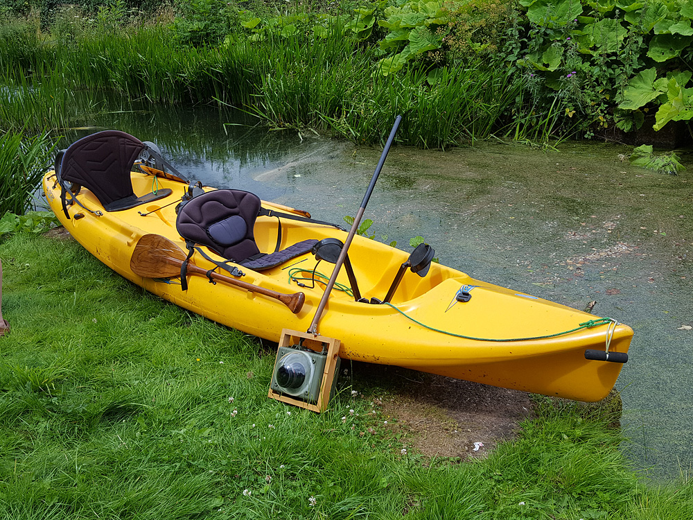 Hobie Canoe on the side of the Tiverton Canal