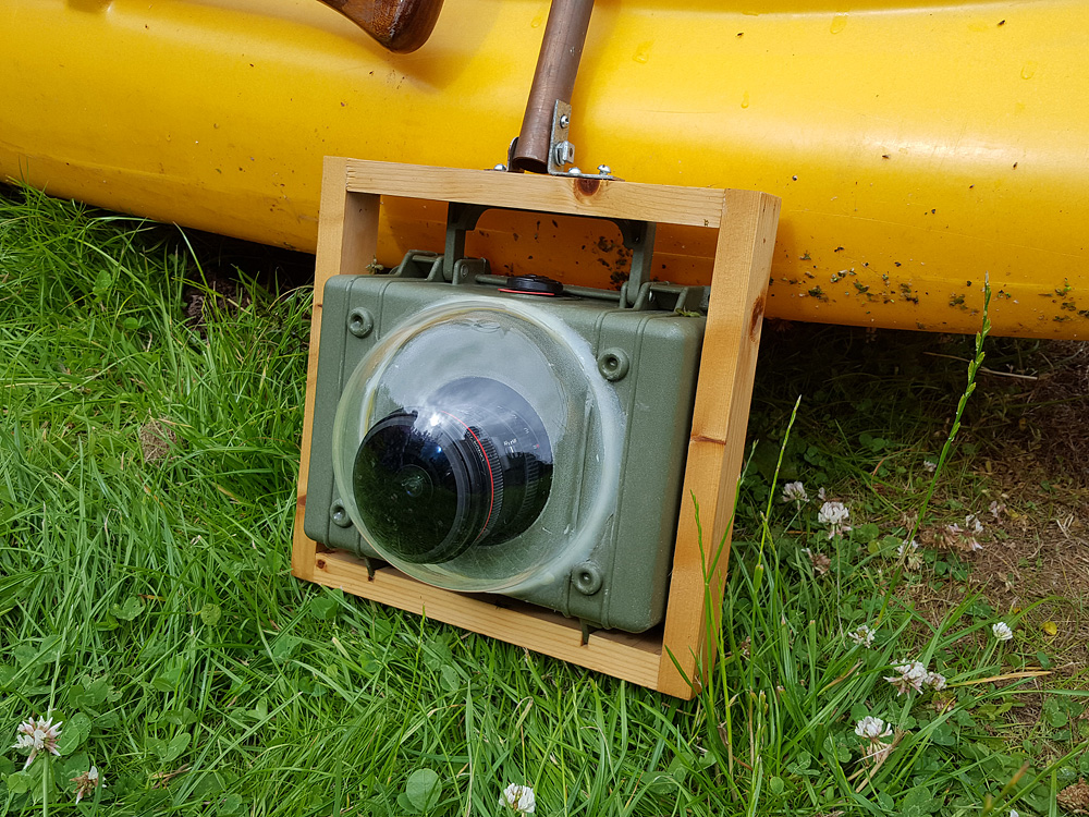 A close up view of my home made underwater camera housing