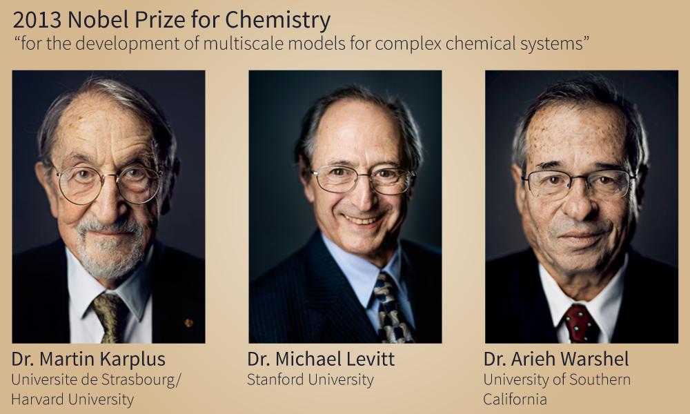 图1:Martin Karplus博士,Michael Levitt博士和Arieh Warshel博士于2013年共同获得诺贝尔化学奖