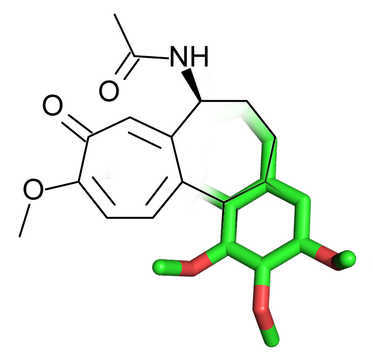 Figure 2: 2D-3D Fused structure of the small molecule Colchicine, used for the treatment of rheumatism and swelling.