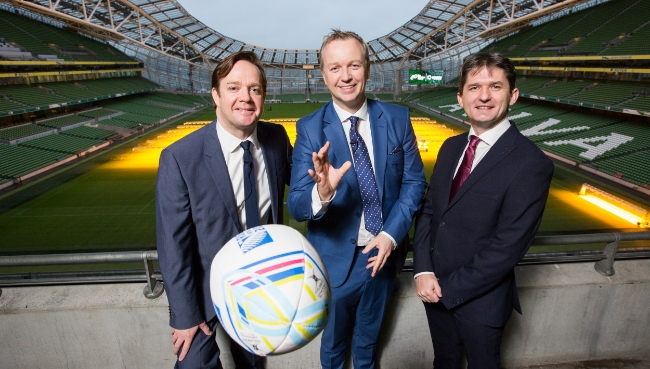 (Left to Right) Pat Kiely (TV3), Matt Cooper and John Trainor (Onside) at Rugby World Cup Breakfast Briefing