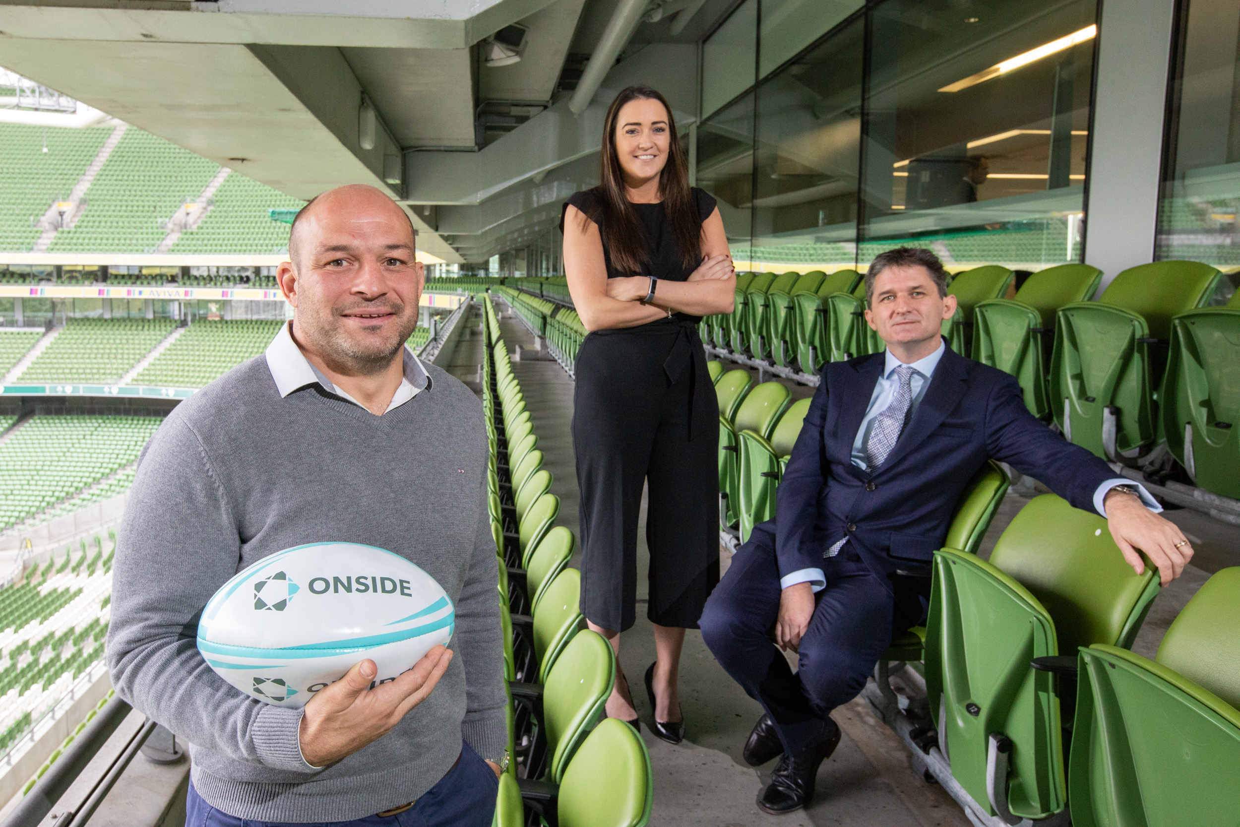 Irish Rugby Captain, Rory Best, Sponsorship Manager at Bank of Ireland, Gemma Bell and ONSIDE founder & CEO, John Trainor at 'Who Won the Summer of Sponsorship 2018?' at the Aviva Stadium