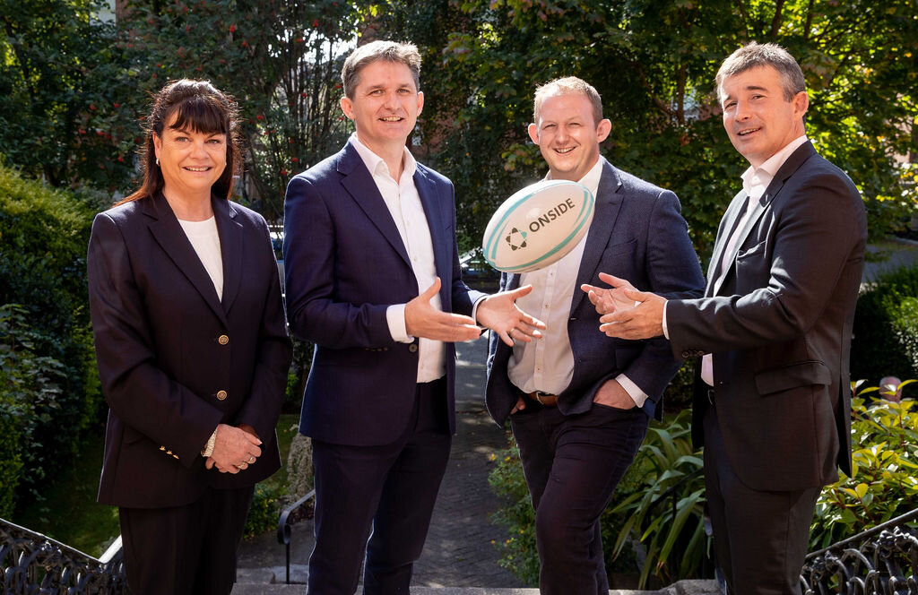 Event Launch Day, Left to Right: Marie Thérèse Campbell, The Marketing Institute of Ireland, Media & Events Manager; John Trainor, CEO and Founder of ONSIDE; Gerry Nixon, Vodafone Head of Sponsorship & Business Brand; Padraig Power, IRFU Commercial & Marketing Director.