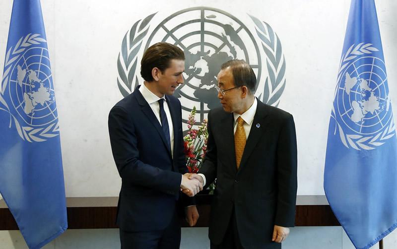 Austrian Foreign Minister Sebastian Kurz meets UN Secretary-General Ban Ki-moon.New York, UN, March 27, 2015. Photo:BMEIA/Tatic