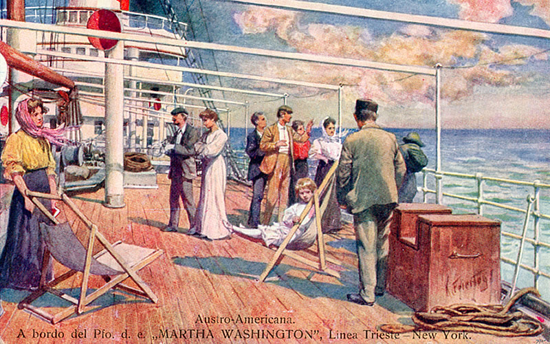 Life aboard the Martha Washington of Austro-Americana en route to New York City. (Sammlung Samsinger)