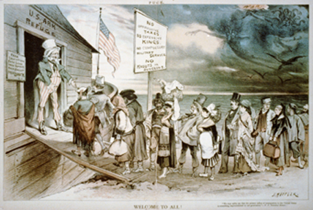 Uncle Sam welcomes immigrants on the U.S. Ark of Refuge, in an 1880 cartoon by Vienna-born American Joseph F. Keppler, who greatly influenced satirical cartooning in the U.S.