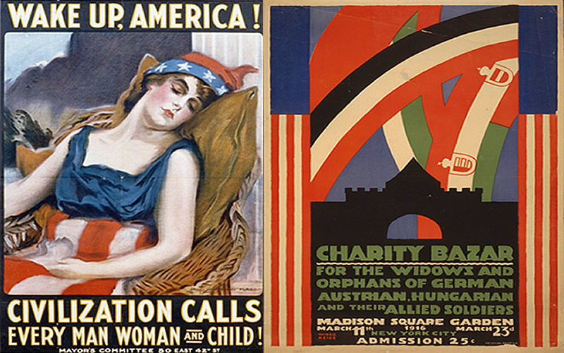 Left: World War I-era poster created by artist James Montgomery in 1917 for the Mayor's Committee, New York Right: Poster (1916), artist: Winold Reiss. Charity Bazar for the widows and orphans of german, Austrian, Hungarian and their allied soldiers. (Library of Congress, Prints and Photographs Division, Washington, D.C.