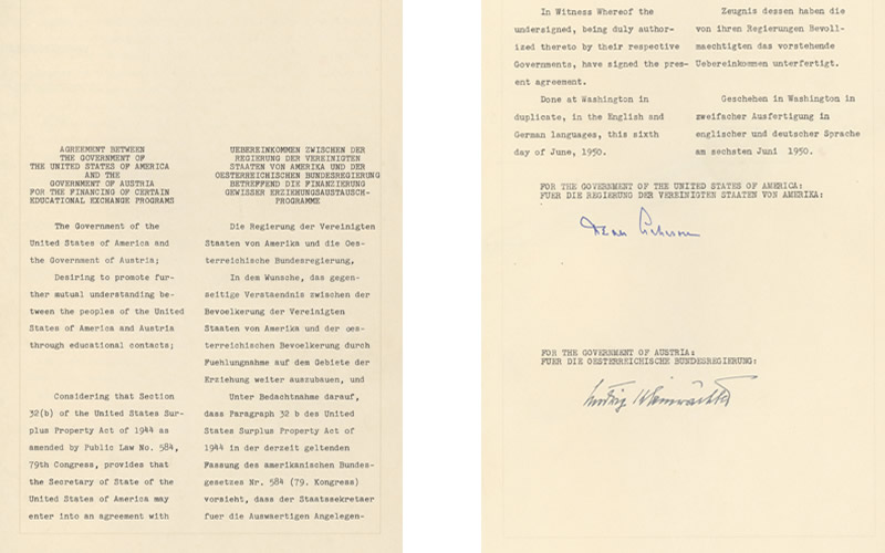 Agreement between the Government of the United States of America and the Government of Austria for the Financing of Certain Educational Exchange Programs, signed in Washington, D.C., June 6, 1950. (U.S. National Archives and Records Administration)