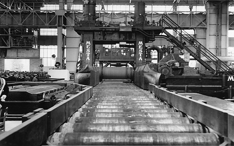In 1951 the Marshall Plan enabled the United Iron and Steel Plant (VOEST) in Linz to import this giant MESTA steelrolling mill from Pennsylvania.