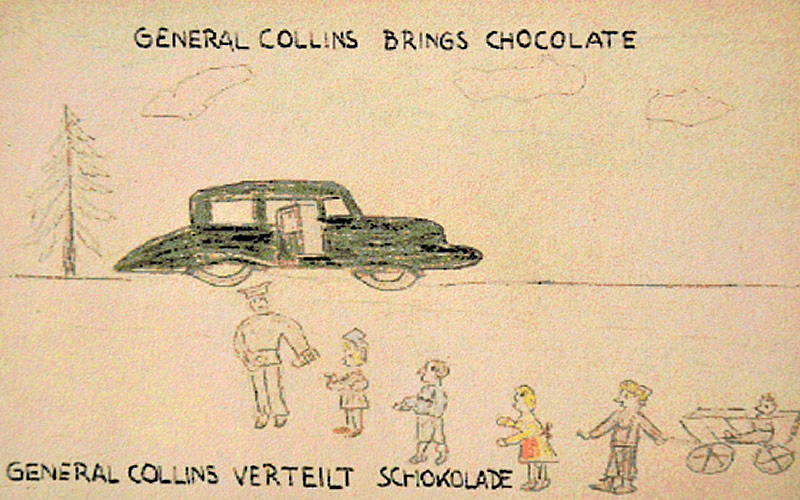 Drawing depicting the U.S. Army delivering chocolate to children in Austria.