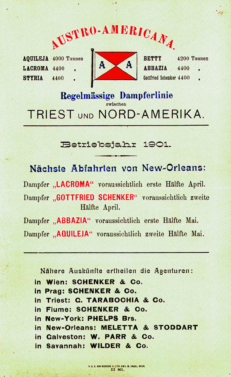 Timetable of  Austro-Americana  from New Orleans, 1901