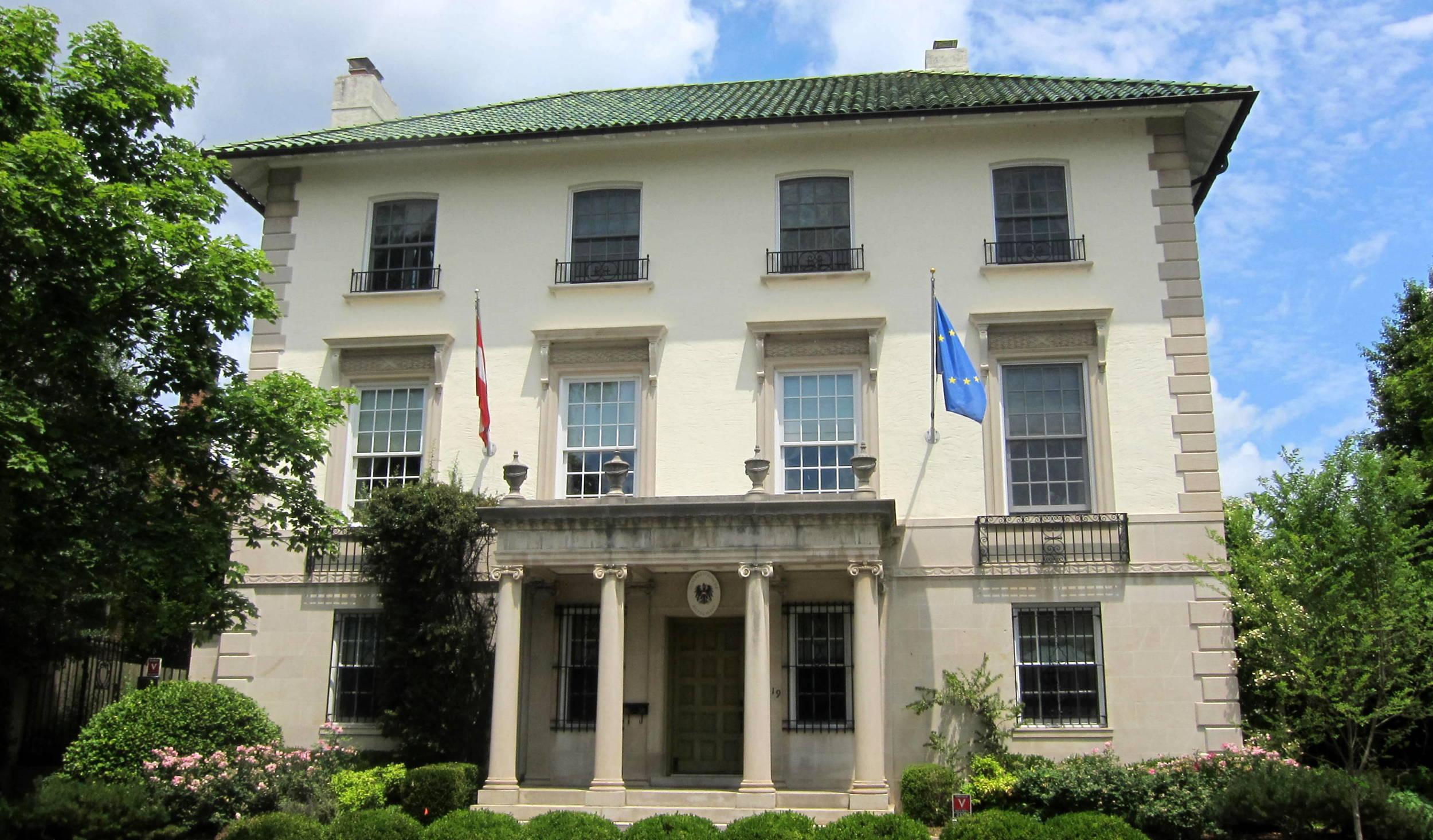 Residence of the Austrian Ambassador, designed byAppleton P. Clark, Jr.in 1926on2419 Wyoming Avenue,N.W. Photo: Wikimedia/ AgnosticPreachersKid