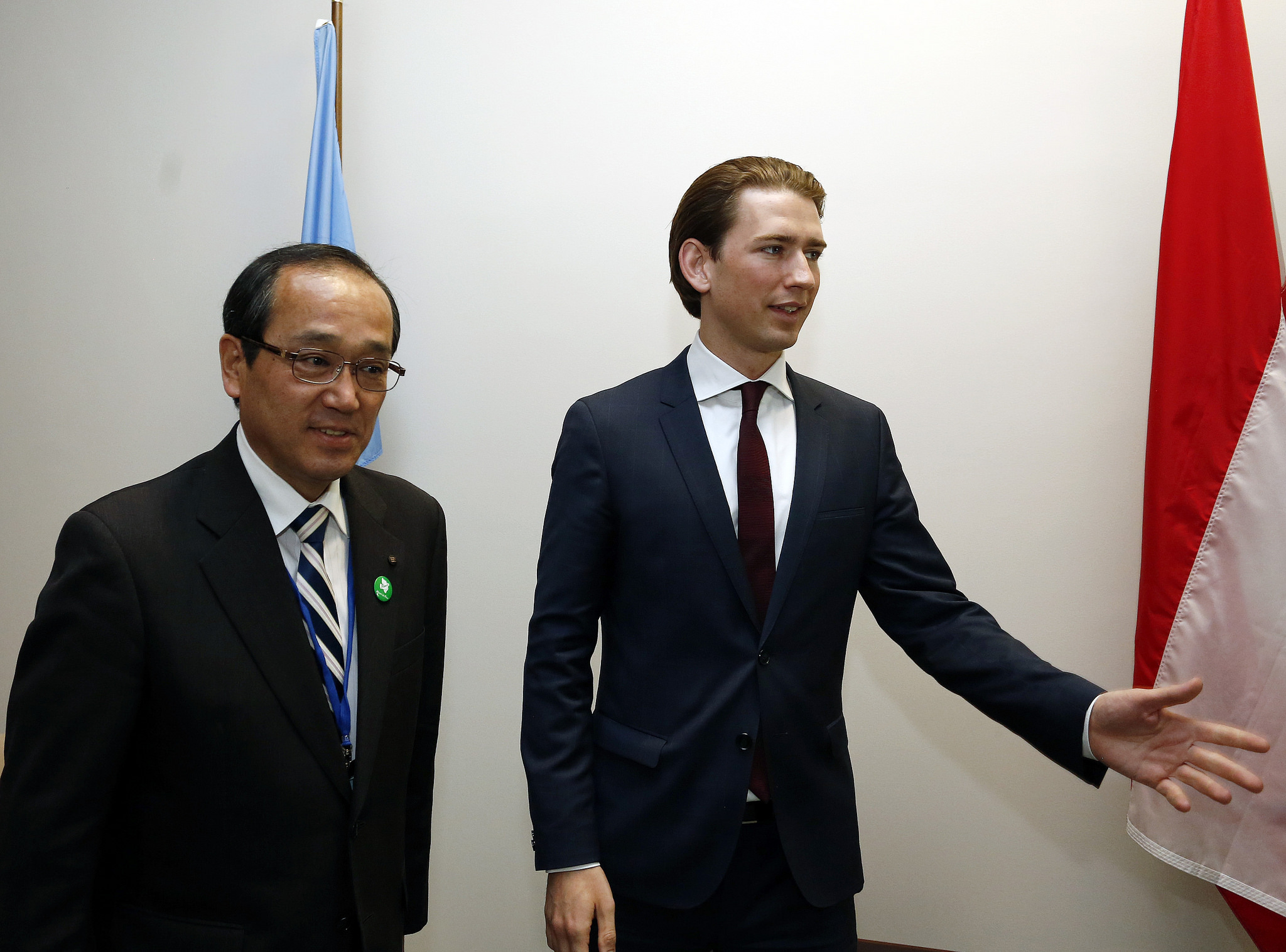 Foreign Minister Sebastian Kurz meets the mayor of Hiroshima, Kazumi Matsui, during the Review  Conference of the Non-Proliferation Treaty (NPT) in New York City. Photo Dragan Tatic.
