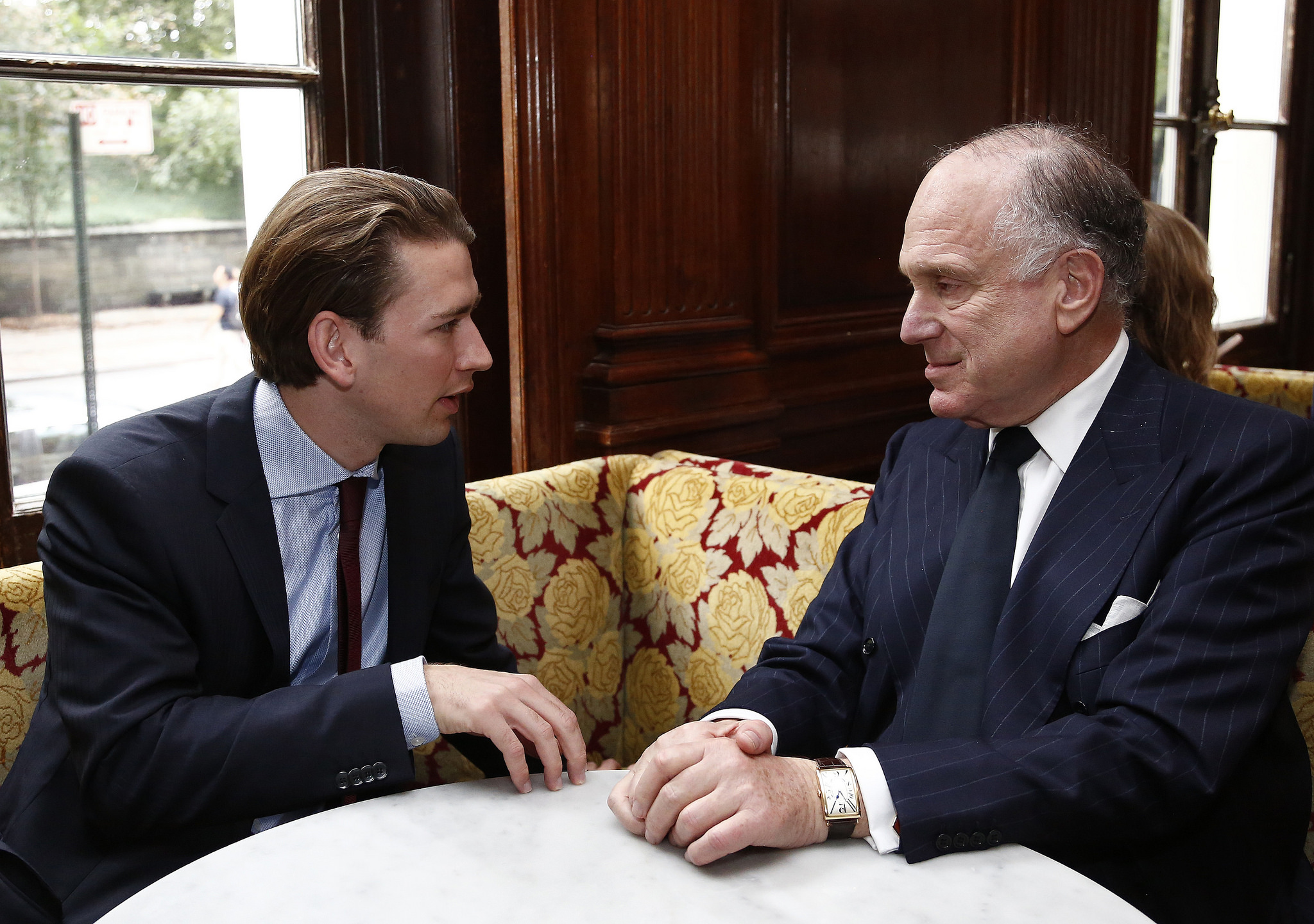 Foreign Minister Kurz with the President of the World Jewish Congress and former U.S. Ambassador to Austria, Ronald Lauder