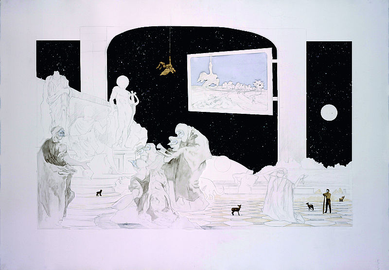 """Il Fazzoletto"" (set of 10 drawings), 2011. Graphite, Ink and Collage on Cut Paper. ©Andrew Mezvinsky"