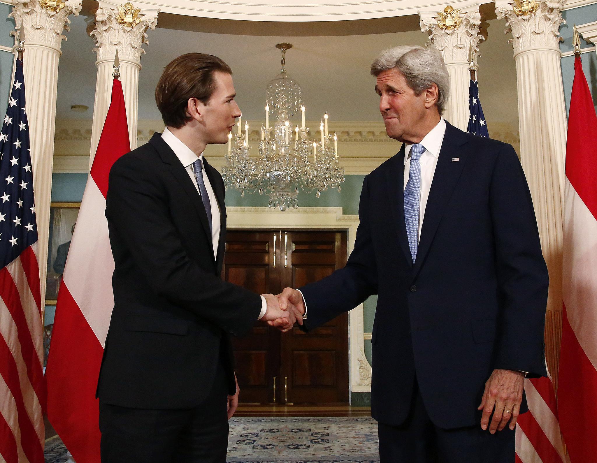 FM Kurz & Secretary Kerry. Photo: Dragan Tatic