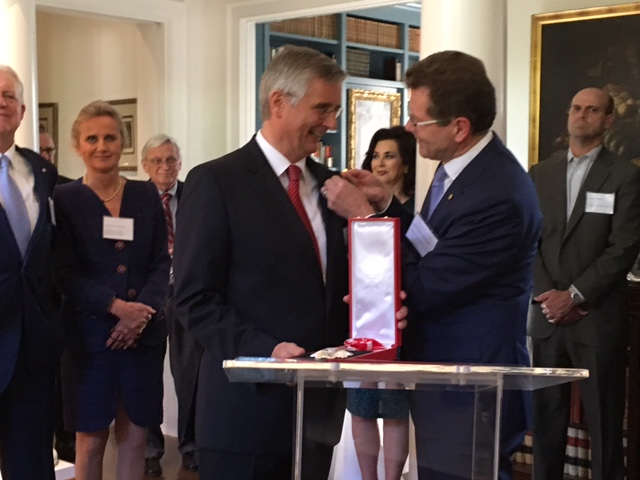 Ambassador Waldner presents German Consul General Rünger with Austrian Grand Decoration of Honour in Silver with Sash for Services to the Republic of Austria
