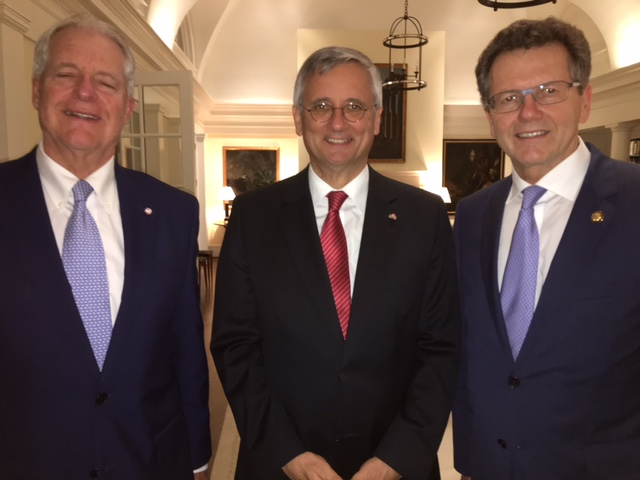 With Austrian Consul Ferdinand Seefried (left) and German Consul General Detlev Rünger (center)