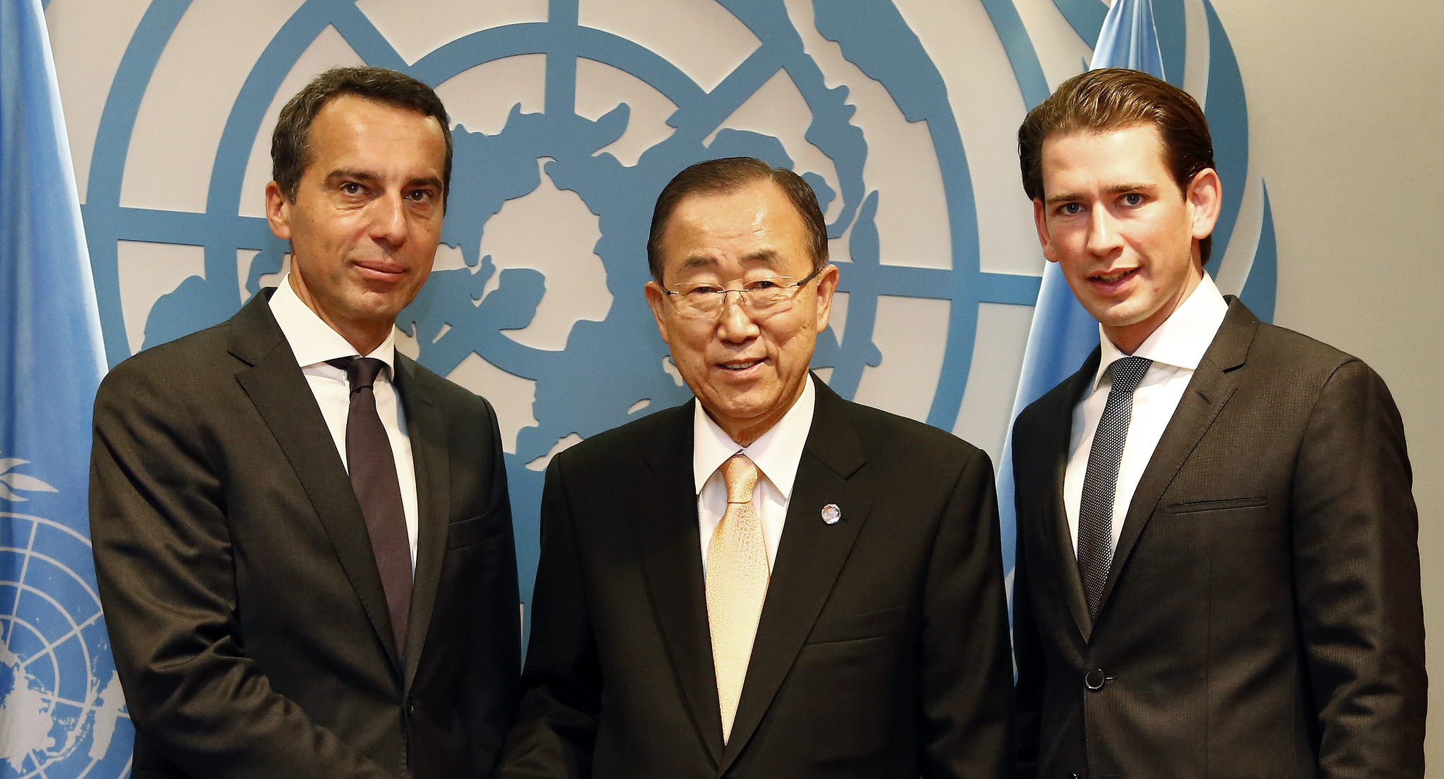 Chancellor Christian Kern, UN-SG Ban Ki Moon, and Foreign Minister Sebastian Kurz. Photo: Dragan Tatic