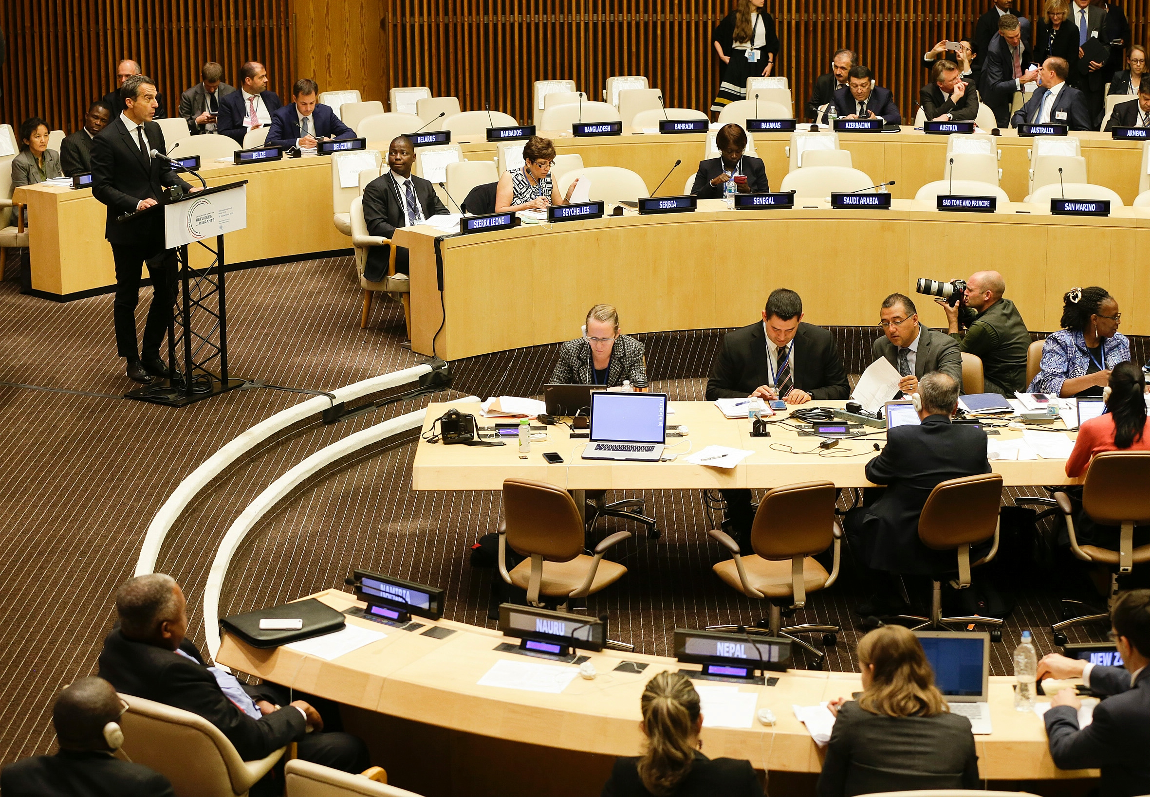 Chancellor Kern speaking at high-level meeting on migration and refugees. Photo: BKA/Andy Wenzel