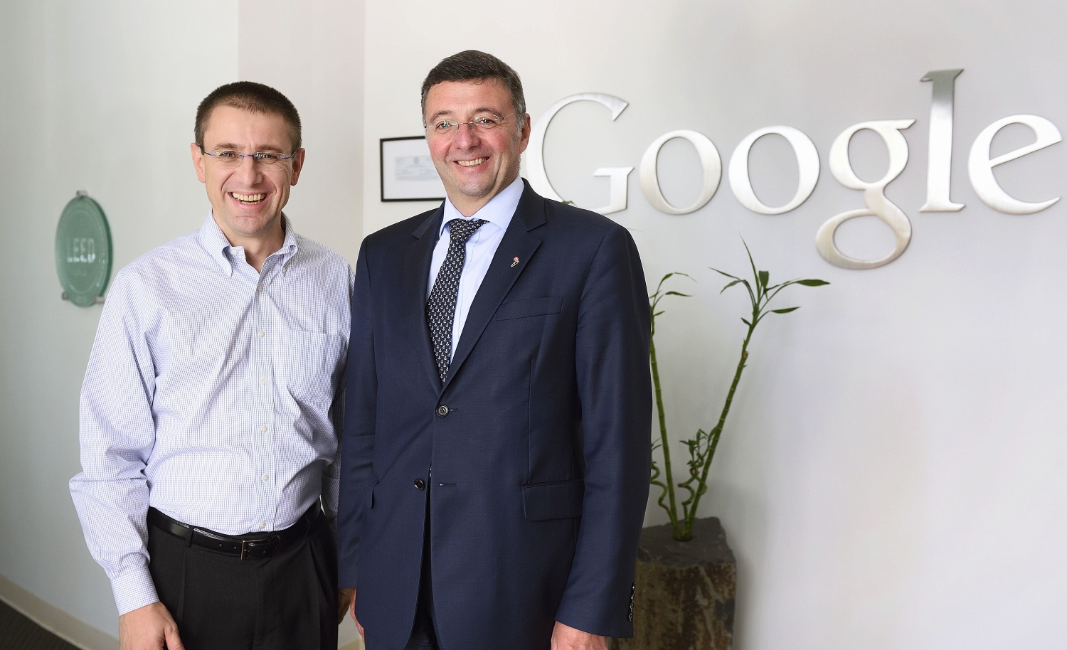 Minister Leichtfried and Vice President of Security & Privacy Engineering at Google, Gerhard Eschelbeck. Photo: BMVIT / Johannes Zinner