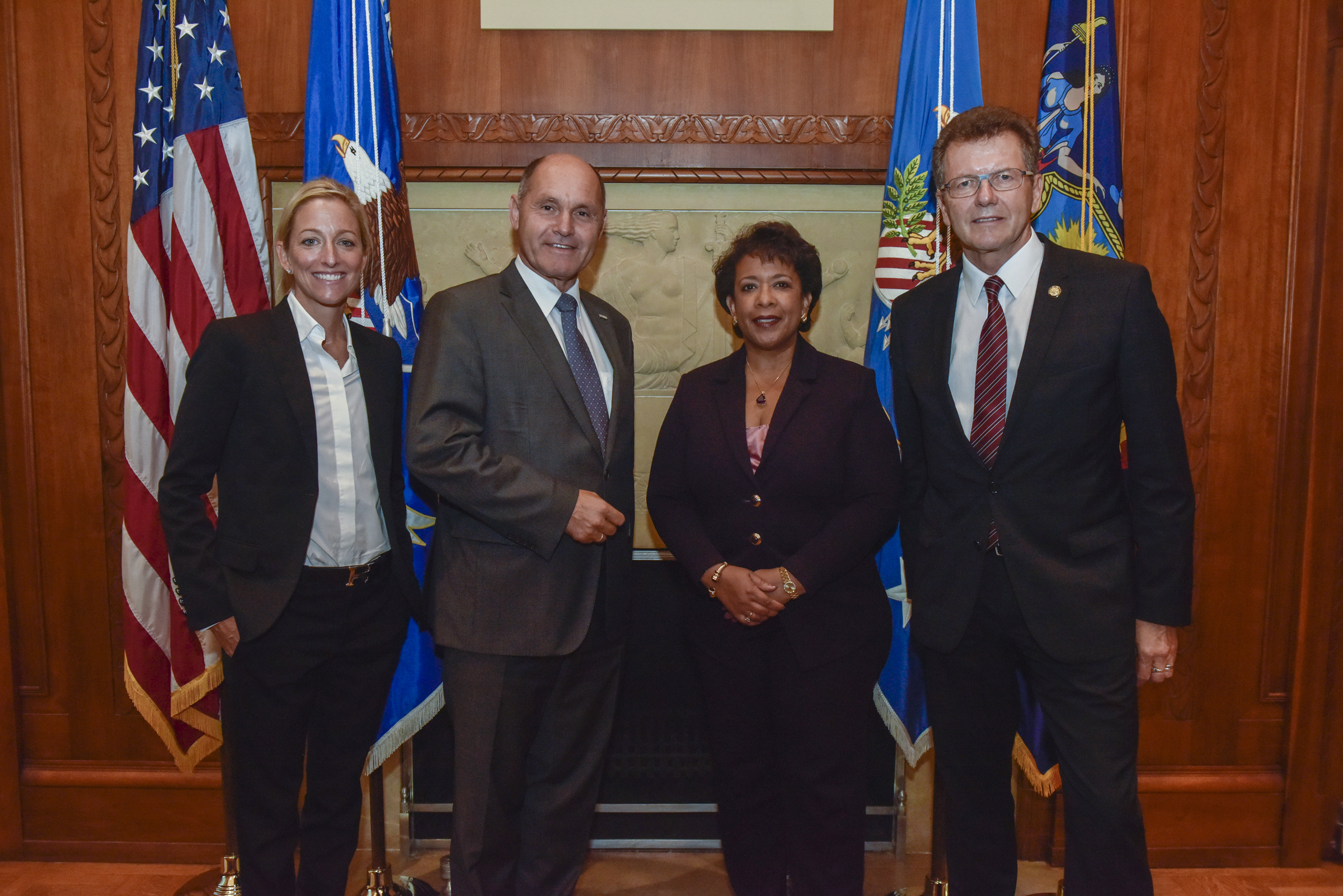 From left to right: U.S. Ambassador to Austria, Alexa Wesner, Interior Minister Wolfgang Sobotka, Attorney General Loretta Lynch, and Ambassador Wolfgang Waldner. Photo: Attorney General's Office