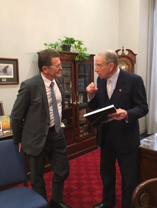 From left: Ambassador Wolfgang Waldner, U.S. Senator Chuck Grassley Photo: Twitter/ @WaldnerWolfgang