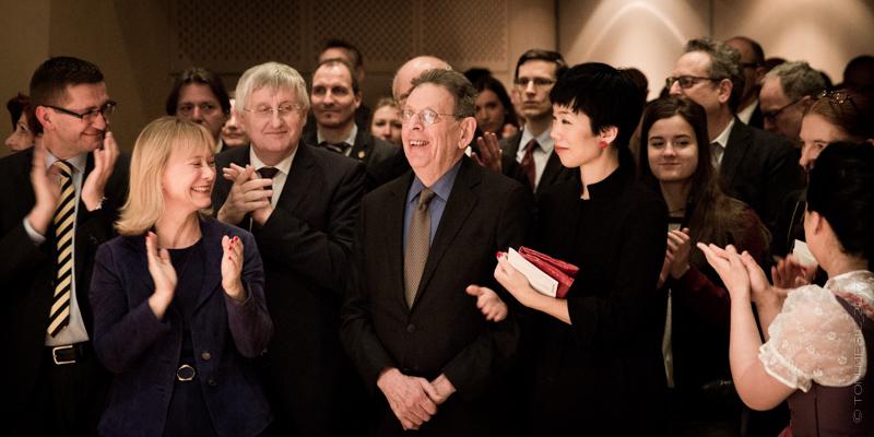 (front): Austrian Cultural Forum New York Director Christine Moser, composer Philip Glass.  Photo: Tom Mesic