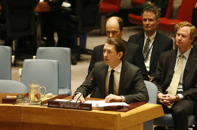 Foreign Minister Sebastian Kurz at the UN Security Council in New York, February 22,2017. Photo: Dragan Tatic