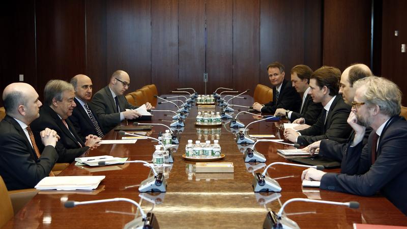 Foreign Minister Sebastian Kurz met with UN Secretary General Antonio Guterres in New York, February 22, 2017. Photo: Dragan Tatic