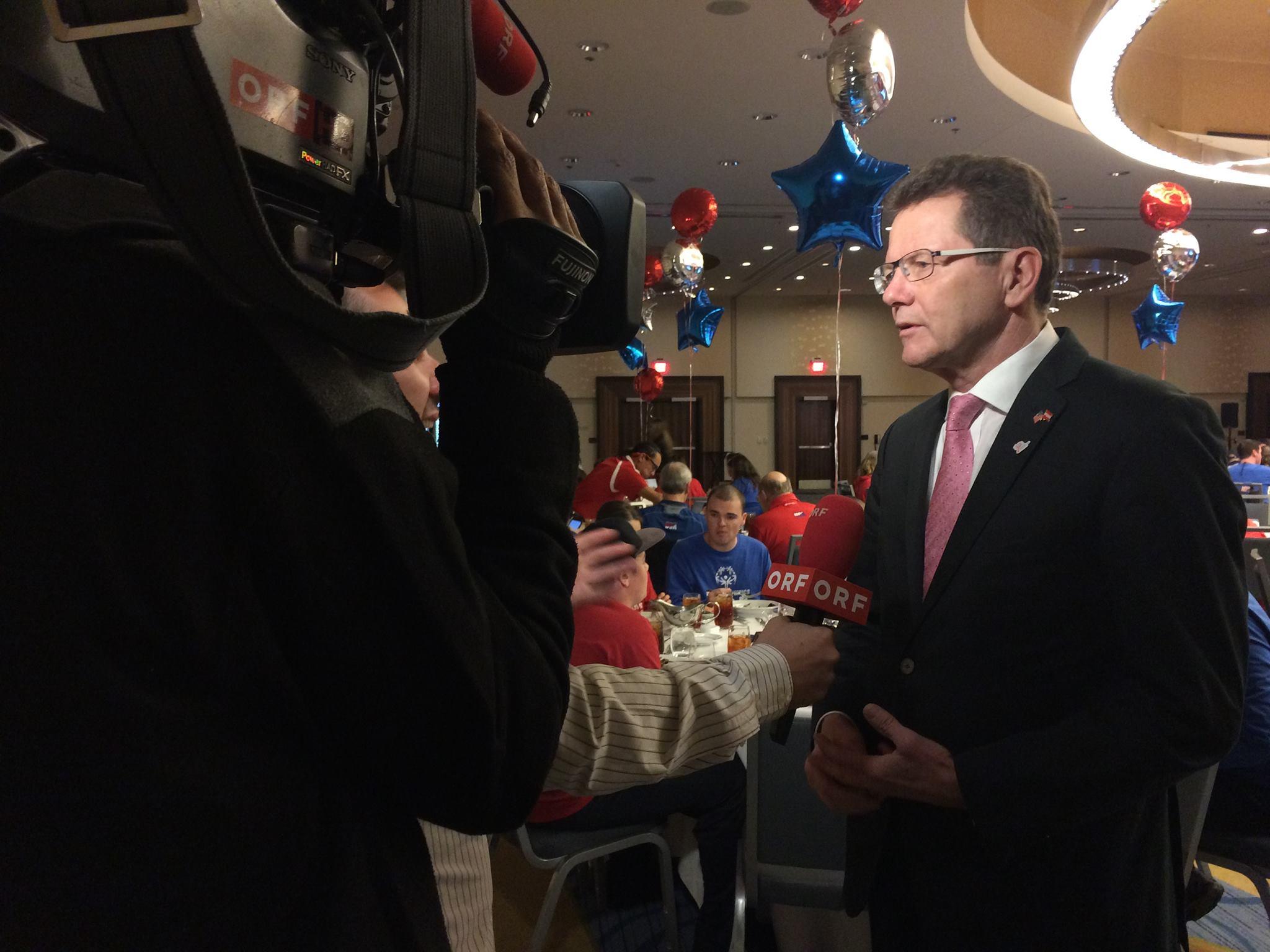 ORF Washington Correspondent Robert Uitz-Dallinger interviewing Ambassador Wolfgang Waldner