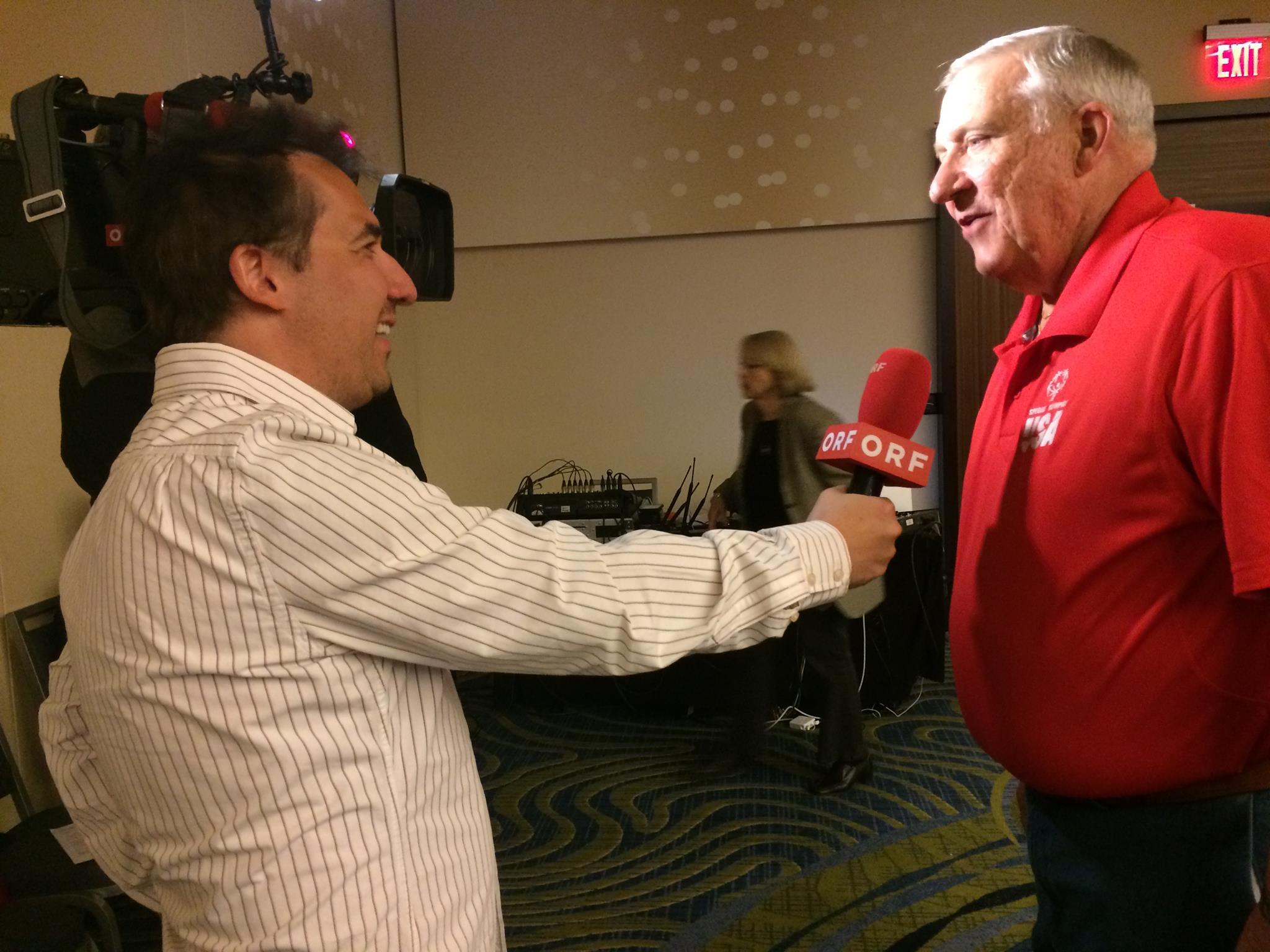 ORF Washington Correspondent Robert Uitz-Dallinger interviewing Chris Hahn, Head of Delegation, Special Olympics Team USA
