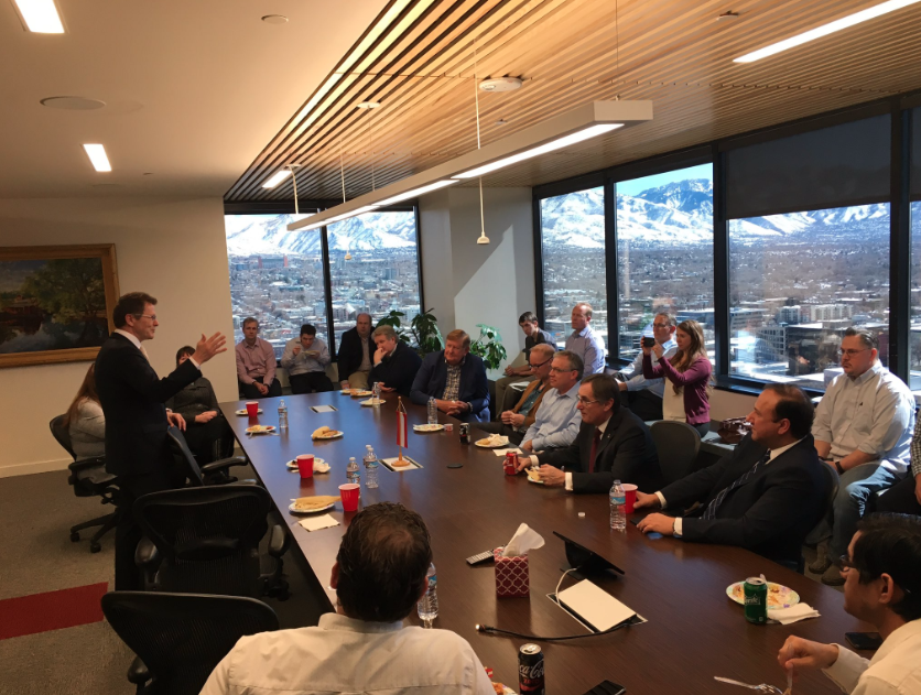 Ambassador Waldner talks about business relations between Austria, the EU and the US in front of Utah entrepreneurs