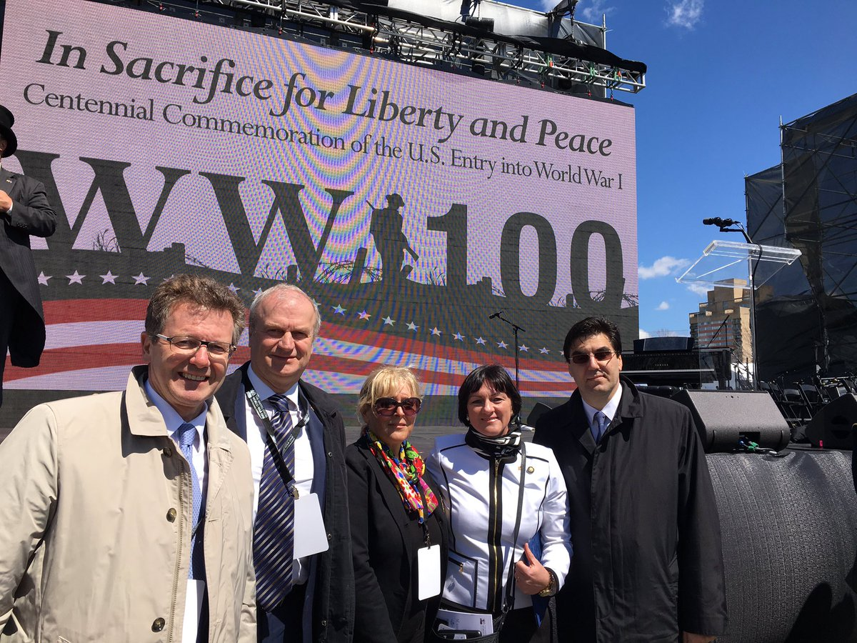 Ambassador Waldner (left) with colleagues at the  Centennial Commemoration of the U.S. Entry into World War I.    Photo: Twitter.com/ @WaldnerWolfgang
