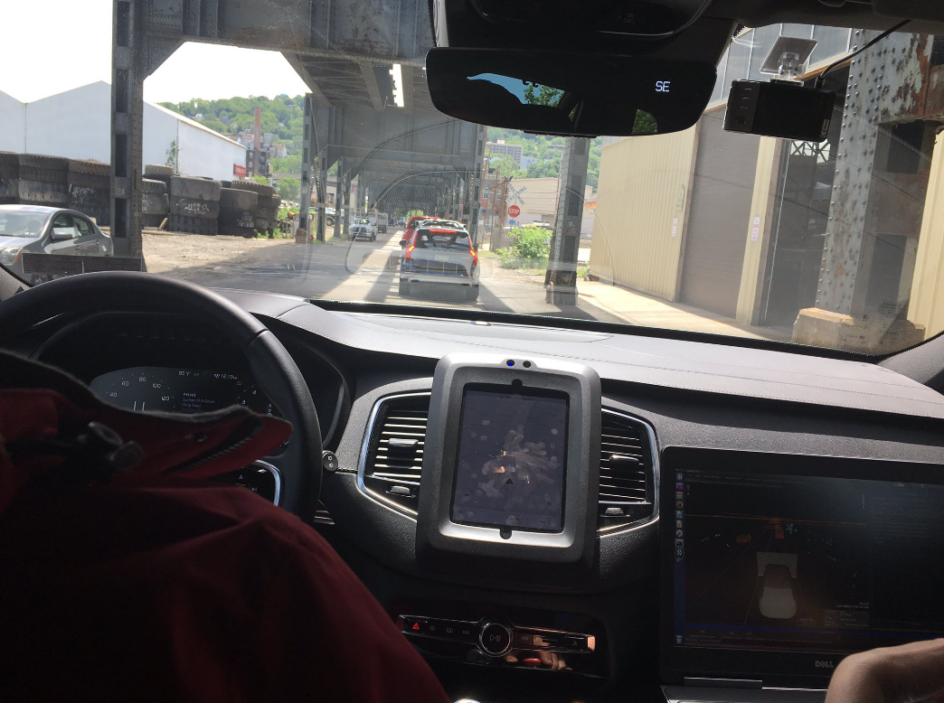 On the road in Uber's self-driving car.  Photo: https://twitter.com/waldnerwolfgang