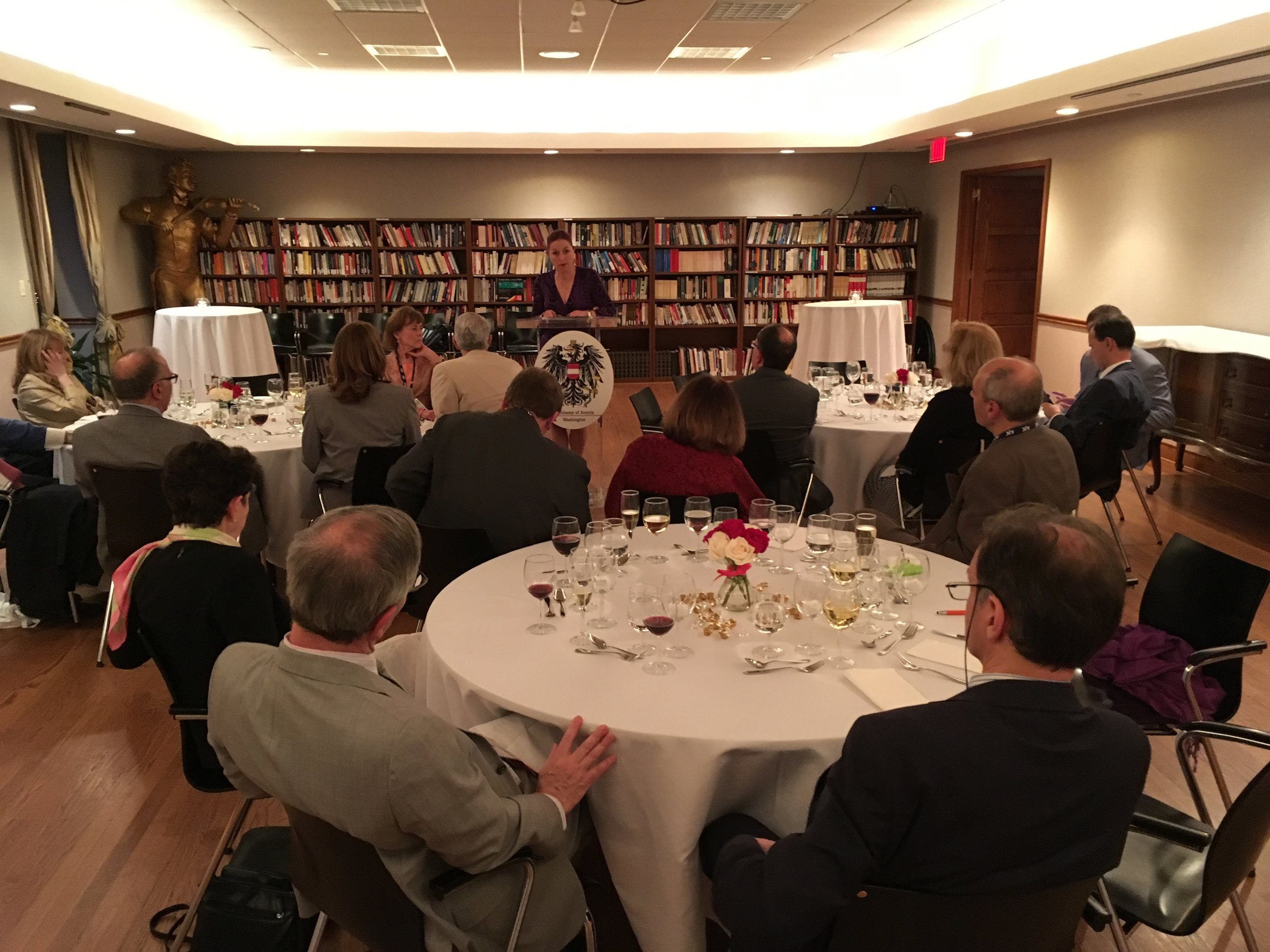 Hannah Lessing addresses the AJC dinner guests