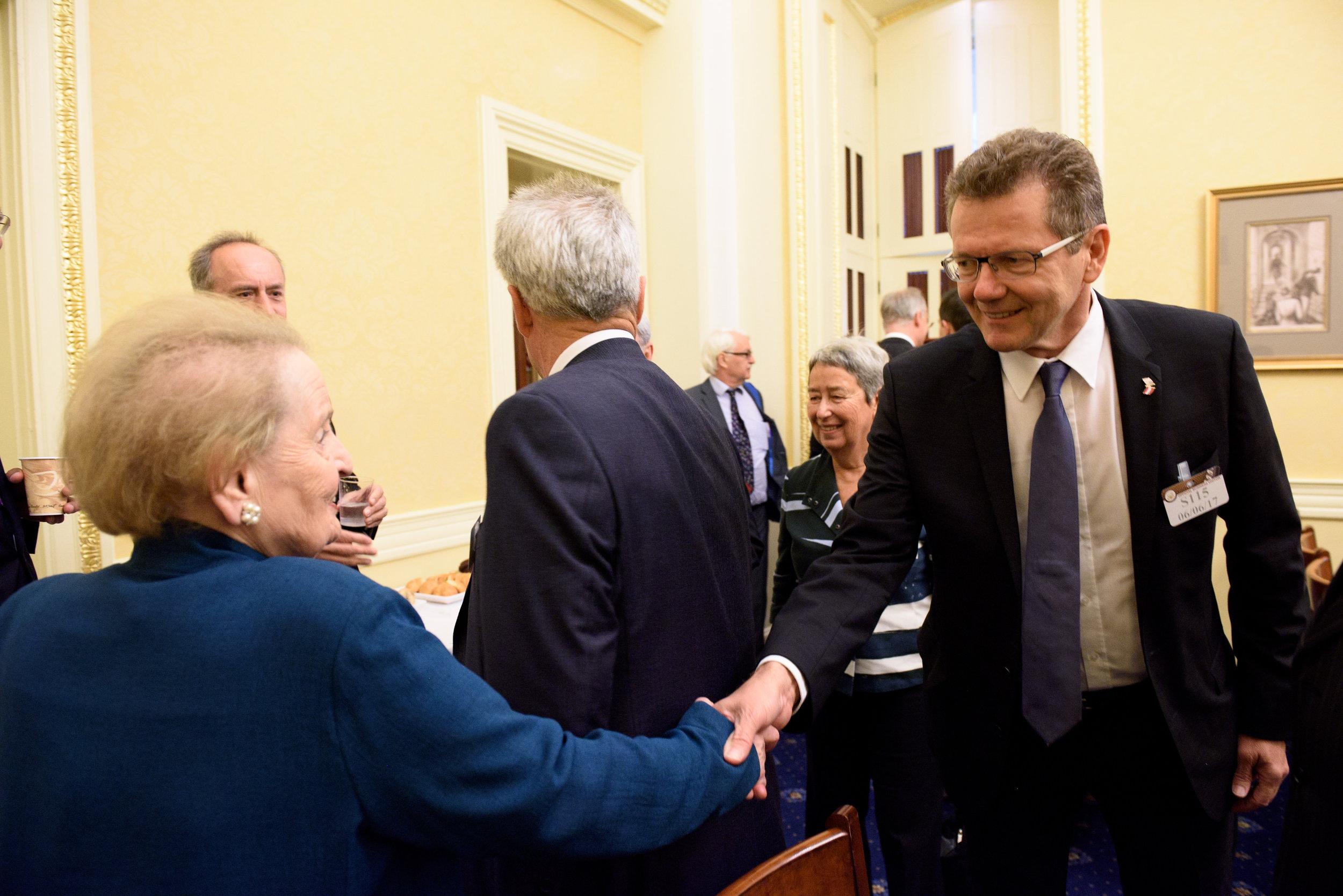 Austrian Ambassador to the U.S. Wolfgang Waldner (right) meeting Madame Secretary Madeleine Albright (c)Kaveh Sardari Photography