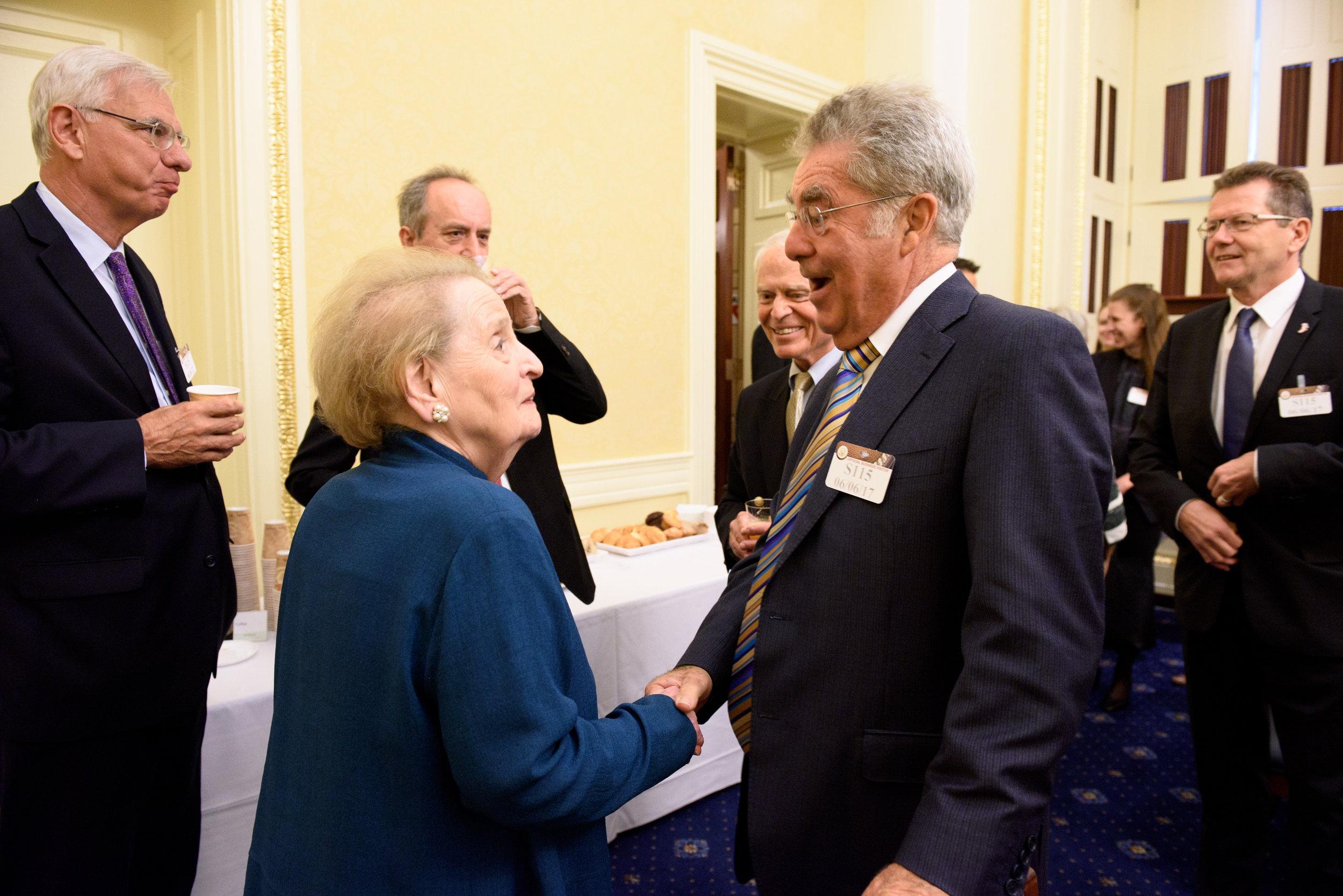 Heinz Fischer, former President of Austria (right), meeting Madame Secretary Madeleine Albright (c)Kaveh Sardari Photography