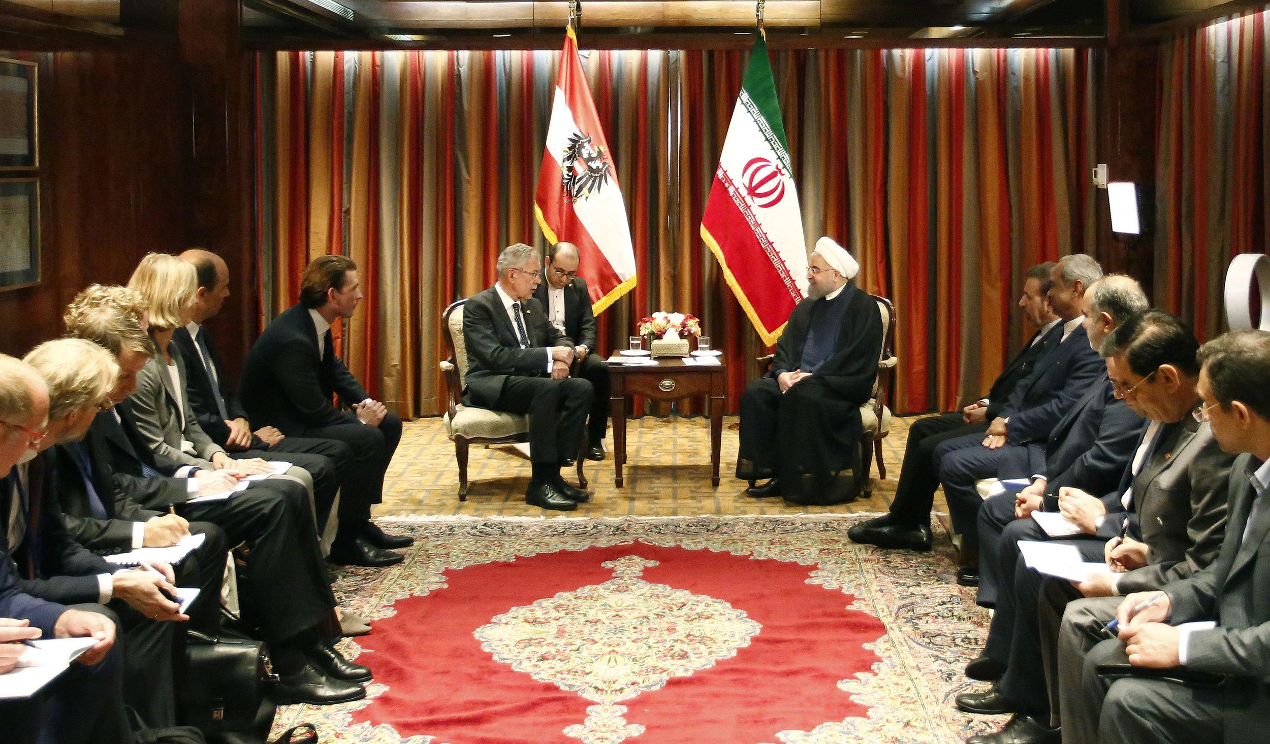 President Alexander Van der Bellen and Foreign Minister Sebastian Kurz meet with President Hassan Rouhani of Iran, Photo: Dragan Tatic