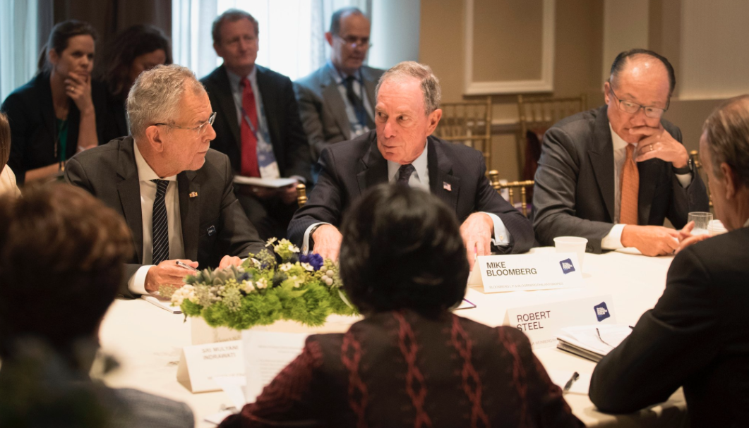 """President Van der Bellen attends the """"Business and Climate Leaders Roundtable"""" at the Bloomberg Global Business Forum"""