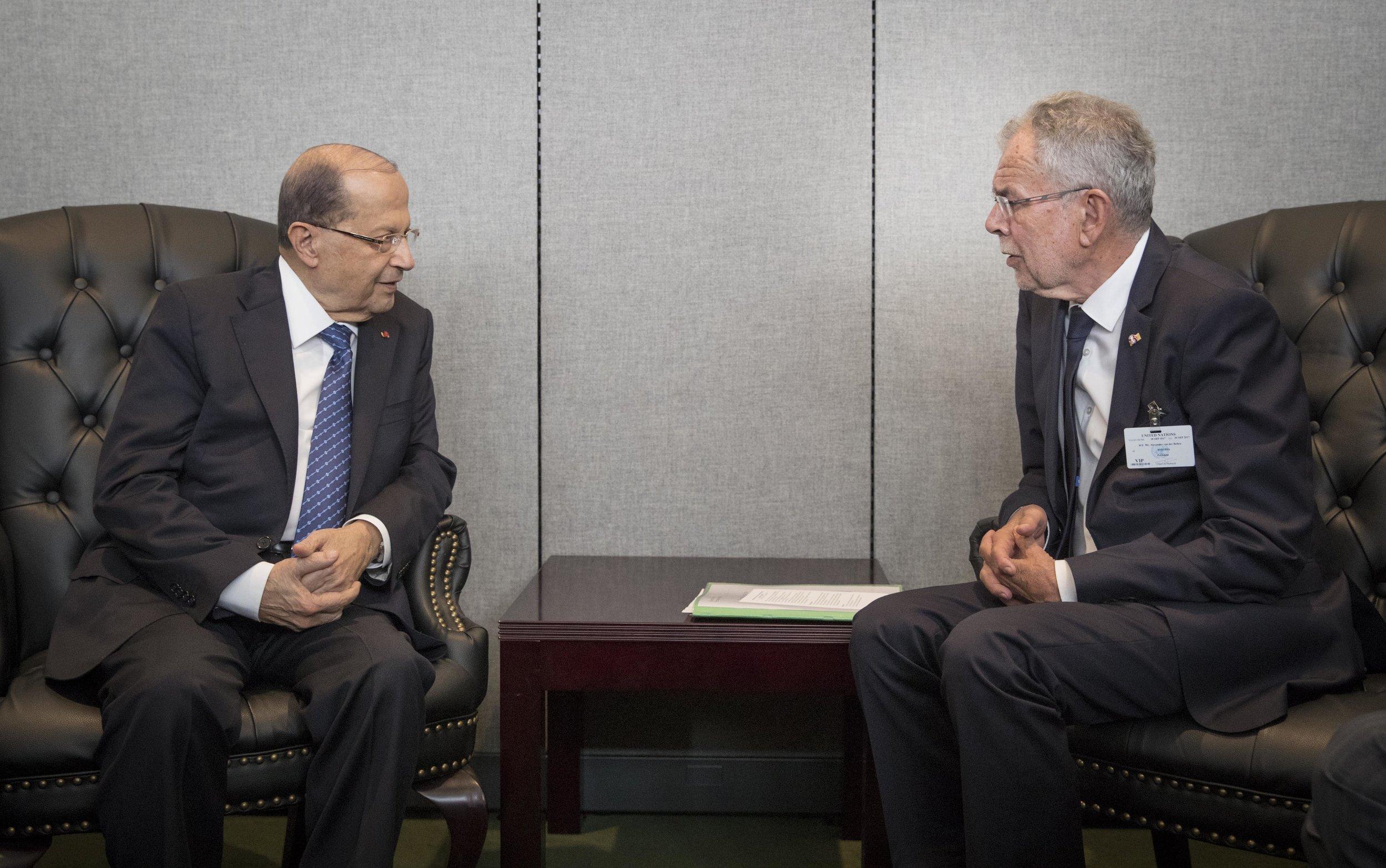 President Alexander Van der Bellen meets with Lebanese President Michel Aoun,Photo:Peter Lechner/HBF