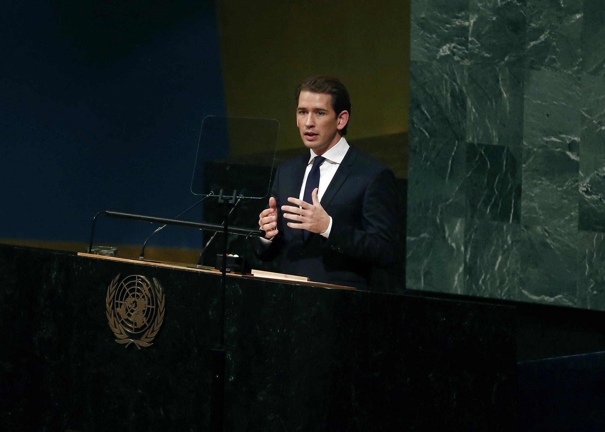 Foreign Minister Sebastian Kurz addressing the U.N. General Assembly on September 19, 2017, Photo: Dragan Tatic