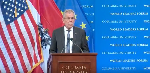 President Alexander Van der Bellen holds a speech at Columbia University's World Leaders Forum