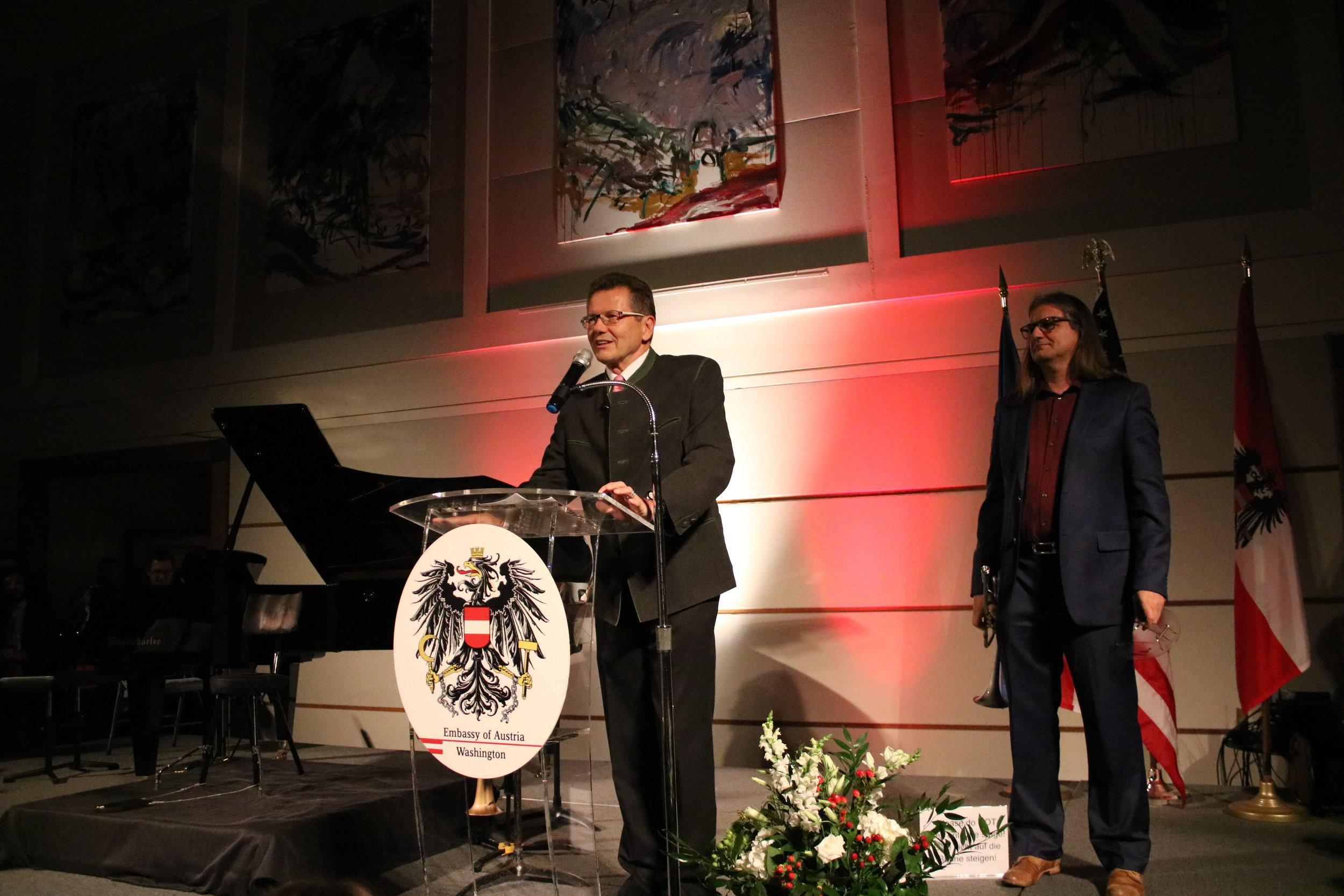 Ambassador Wolfgang Waldner welcomes the guests at the Austrian National Day Reception on October 25, 2017