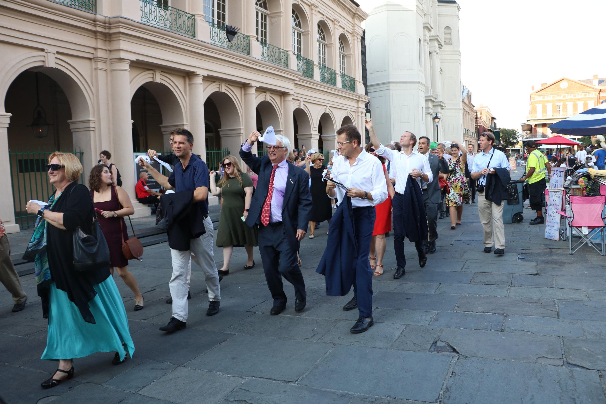 The Director of Center Austria, Professor Guenter Bischof and Ambassador Waldner walk in a second line through the  French Quarter.  Photo: Theresa Peischer