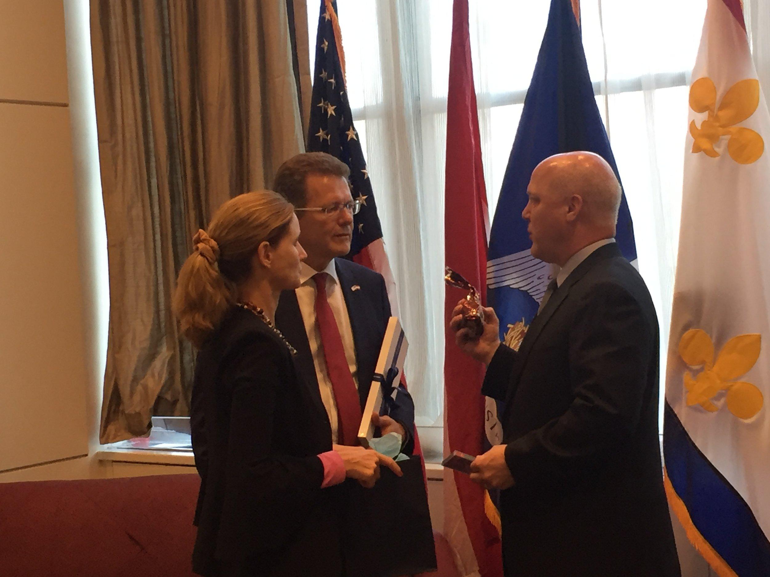 From left: Dr. Gudrun Waldner Faudon, Ambassador Wolfgang Waldner, Mayor Mitch Landrieu.