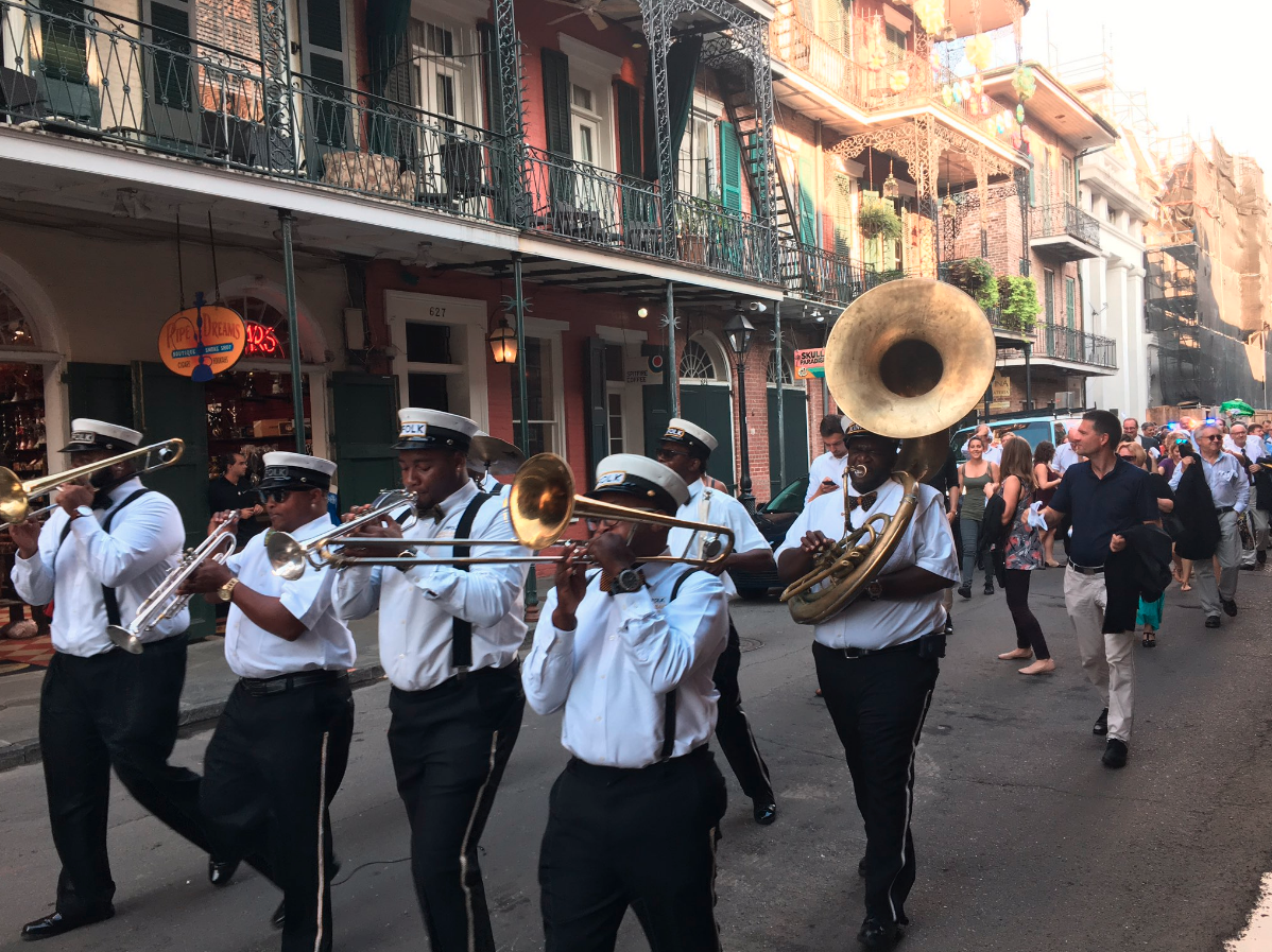 Second line in the  French Quarter  on the occasion of the 20th anniversary of the Austrian Marshall Center for European Studies.