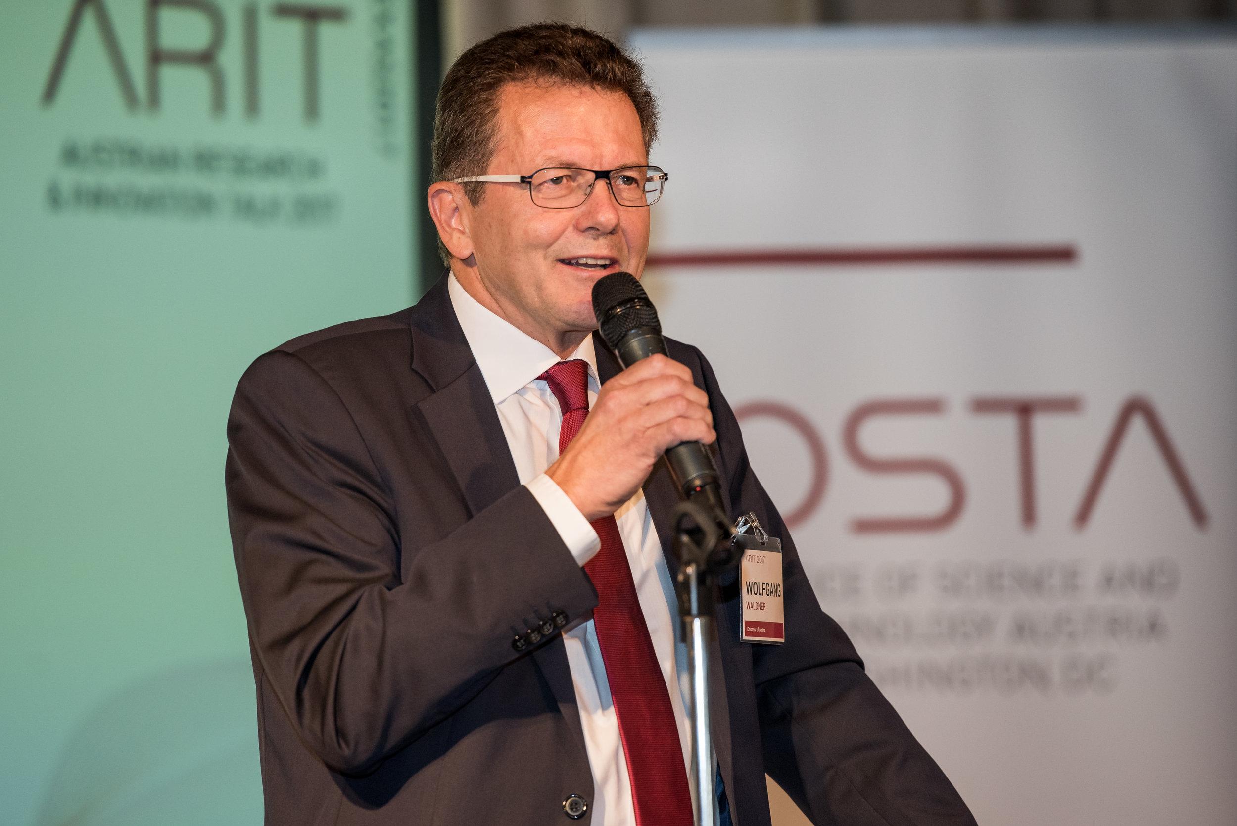 Ambassador Wolfgang Waldner giving the opening remarks of ARIT 2017