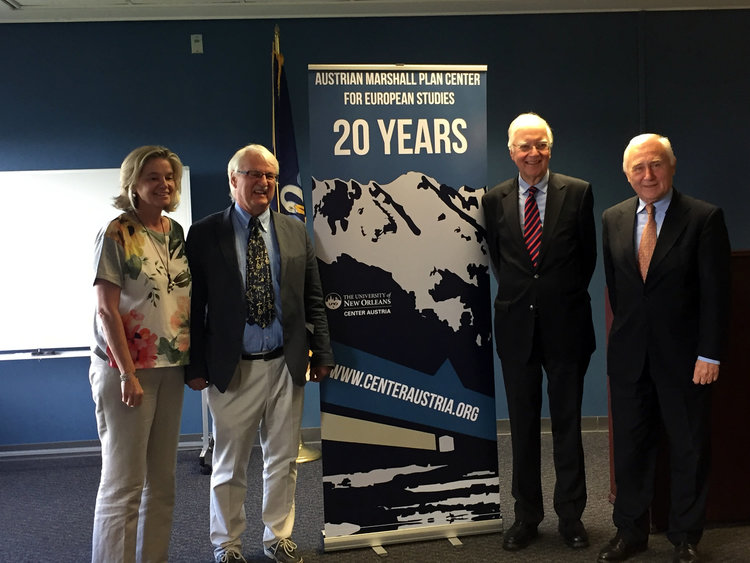 Ambassadors Cede and Prosl at The University of New Orleans, with Ms. Gertraud Griessner and Professor Günter Bischof (left) of the Austrian Marshall Plan Center for European Studies.